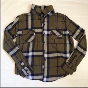 Volcom Olive Plaid Flannel